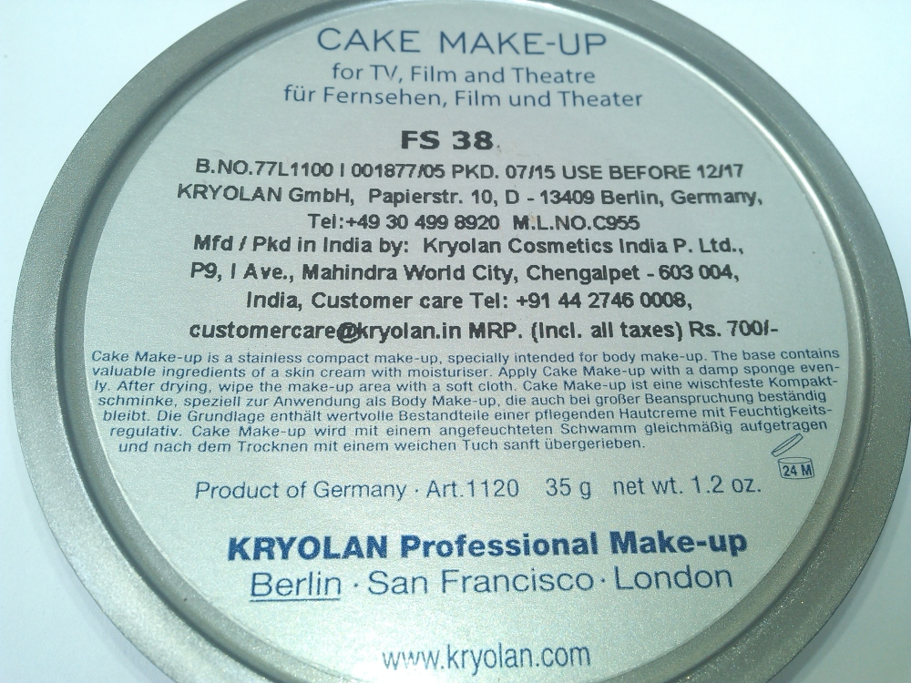 KRYOLAN CAKE MAKEUP FOUNDATION- FS38 | REVIEW AND SWATCHES (4/6)